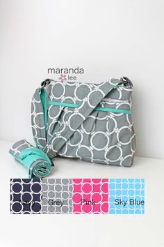 Stella DELUXE Diaper Bag with Changing Mat Medium - CUSTOM Linked and CUSTOM Accent - Circles Nautical Nappy Bag  Attach to Stroller by marandalee on Etsy
