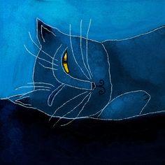 """Blue Cat Sleeping"" by artist Jackie Ludtke via 'fineartamerica.com'<3"