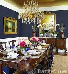 Dining Room Blue, Luxury Dining Room, Dining Room Design, Traditional Dining Rooms, Traditional House, Traditional Decorating, Modern Traditional, Blue Rooms, White Rooms