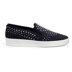 Michael Kors Sneakers, Casual Frau Keaton Slip On Leather Black Studs