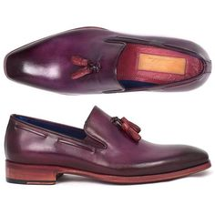 Plain-toe men's tassel loafer Purple hand painted finest Italian calfskin upper Pink finished leather sole Blue leather lining and bordeaux inner sole Th. Mens Tassel Loafers, Mens Leather Loafers, Loafers Men, Leather Men, Loafers Outfit, Purple Swag, Purple Shoes, Mens Shoes Boots, Shoe Boots