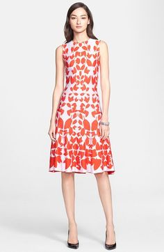 St. John Collection Floral Jacquard Knit Flared Dress available at #Nordstrom