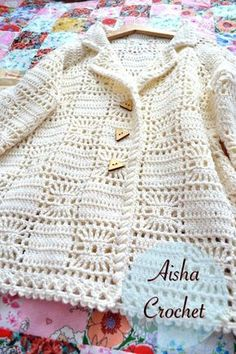 This post was discovered by May Mathineehandmade. Discover (and save!) your own Posts on Qoster.Crochet Jacket with lacy hem aIrish Lace Crochet Crochet P Gilet Crochet, Crochet Coat, Crochet Cardigan Pattern, Crochet Jacket, Crochet Blouse, Crochet Braids, Crochet Baby Sweaters, Crochet Baby Clothes, Crochet Girls