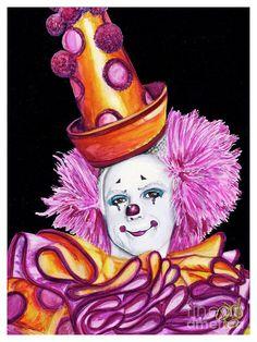 Watercolor Clown #26 Victor Ruiz Painting by Patty Vicknair
