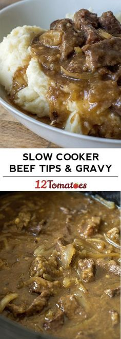 Slow Cooker Beef Tips - an easy winter dinner that the family LOVES! Slow Cooker Beef Tips - an easy winter dinner that the family LOVES! Crock Pot Recipes, Crockpot Dishes, Beef Dishes, Slow Cooker Recipes, Cooking Recipes, Cooking Tips, Healthy Recipes, Crockpot Meals, Pressure Cooker Recipes Beef
