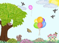 Happy wall mural for kids room