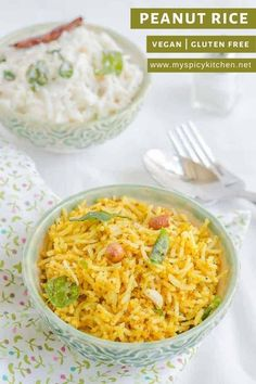 Peanut rice is a a flavorful dish prepared with peanuts and basic Indian spices. A vegan comfort food is easy to prepare and delicious with some raita on the side. #IndianRecipes #MySpicyKitchen #GlutenFree