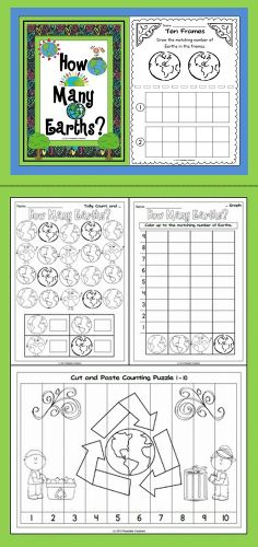 This Math unit has an Earth Day theme. Earth Day, April is intended to inspire awareness and appreciation for the Earth's natural environment. Counting Puzzles, Counting Activities, Teaching Math, Teaching Resources, Maths, Teaching Ideas, Preschool Science, Preschool Ideas, Environment Day