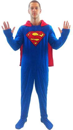 DC Comics Superman 1 piece Footed Onsie Adult Blue Pajama with Cape- you have no idea how much I want this!! I wonder if it comes in women's sizes??