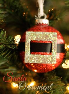 Need a quick and easy Christmas ornament craft? Check out this adorable handmade Santa ornament craft featuring an easy glitter Santa Christmas ornament.