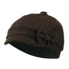 d5968d1d071 Girl s Polka Dots Bow Cabby Cap - Brown