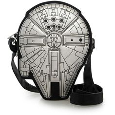 Loungefly x Star Wars Millennium Falcon Crossbody Bag ($45) ❤ liked on Polyvore featuring bags, handbags, shoulder bags, vegan leather handbags, faux leather crossbody, vegan leather purses, white handbags and vegan handbags