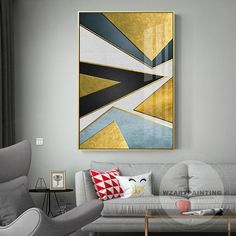 Modern Geometric Abstract Gold Blue Black Triangle Print Painting Prints on Canvas Luxury Wall Art Picture Frame for Living Room Home Décor Large Wall Art, Framed Wall Art, Canvas Wall Art, Canvas Prints, Canvas Canvas, Images D'art, Abstract Geometric Art, Abstract Oil, Abstract Paintings