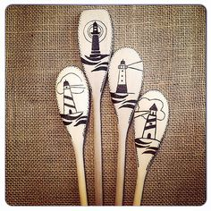 Completed custom order of #woodburnedspoons. #pyrography #lighthouse #ocean | Flickr - Photo Sharing!