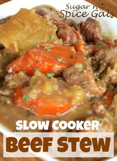 This slow cooker beef stew is perfect comfort food especially on a chilly night!