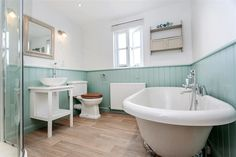 Lilac Cottage, near South Pool, South Devon, has just been beautifully refurbished throughout - just look at this beautiful bathroom Decor Interior Design, Interior Design Living Room, Room Interior, South West Coast Path, South Devon, Beautiful Bathrooms, Spring Colors, Clawfoot Bathtub, Home Decor Bedroom