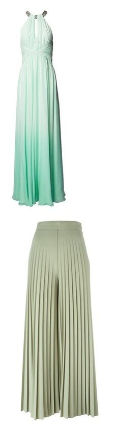 """Women's Mint Pants"" by eternalfeatherfilm on Polyvore featuring dresses, gowns, mint, white gown, pastel dresses, white ruched dress, mint green dress, white dress, pants and bottoms"