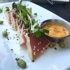 Tuna Tataki  Love the spicy sauce on the side it spices up the tuna tataki entirely yummy  #tuna#tataki#smoked#spicy#sauce#la#santamonica#goodfood#yummy#foodporn#hkig by justinecowcow