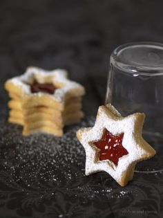 Star of David linzer sablés filled with raspberry jam (post links to Dorie Greenspan's recipe)