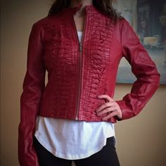 RED fashion jacket 🍒 size small (2/4) FUN FUN FUN fashion jacket Forever 21. Gently used. Smoke free home. Light weight cozy warm beautiful color. ⚡️No trades ⚡️ I entertain ALL OFFERS but please use OFFER button 👍. Some of my favorite brands are Banana Republic J Crew  Lands End Lululemon Lucy Fabletics Sweaty Betty Victoria Secret Sport LL Bean The North Face Zella Patagonia Maramont Gap Bvlgari Cole Hann Kenneth Cole ATHLETA Jackets & Coats