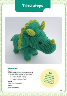 crochet Triceratops one pattern from a book of Dinosour Amigarumi - Dover