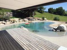 Luxury Swimming Pools, Dream Pools, Swimming Pools Backyard, Swimming Pool Designs, Backyard Landscaping, Beach Entry Pool, Backyard Beach, Backyard Pool Designs, Beach Pool