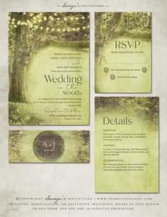 Enchanted Garden Wedding Invitation, Rustic Trees String Lights Wedding Invitation by Soumya's Invitations