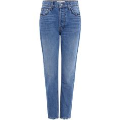 Derek Lam 10 Crosby - Lou High-Rise Straight-Leg Jeans (970 RON) ❤ liked on Polyvore featuring jeans, highwaist jeans, blue jeans, straight leg jeans, high rise jeans and high-waisted jeans