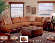 Image for Cognac Leather Sectional Sofa