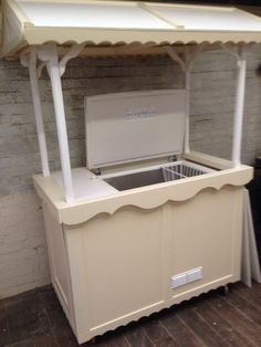 Ivory Vending Cart Stall w/ Freezer Fitted / For Functions & Events Weddings