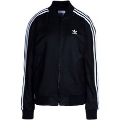 Adidas Originals Jacket ($450) ❤ liked on Polyvore featuring outerwear, jackets, tops, black, zipper jacket, adidas originals jacket, lamb leather jacket, zip jacket and long sleeve jacket