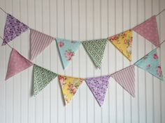 Shabby chic floral pennant banner. Tea party by ThePartyOrchard