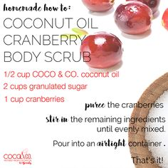 Ready for a little #DIY?! 🙋With just three ingredients, you can whip up a deliciously exfoliating #sugarscrub that will leave your skin #glowing! ✨💕#HomemadeHowTo #SundayFunday / Coconut and Company coconut oil for beauty. Organic, fresh, and pure for glowing hair and skin!