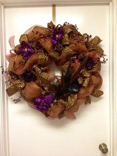 Fall leopard print deco mesh wreath by DazzlemeWreaths on Etsy, $145.00