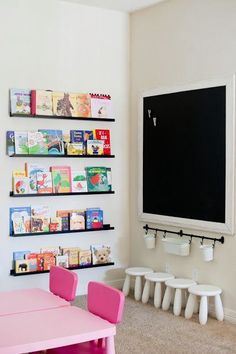 Playroom idea - I like the buckets hanging under the chalkboard. Though is use marker board. Less dust/mess.