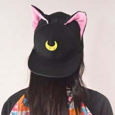 Sailor Moon black baseball cap cute Luna cat caps for women Cat Ears 36aa1e314ad3