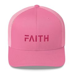 ea2038c7dbd FAITH Christian Snapback Trucker Hat Embroidered in Pink Thread