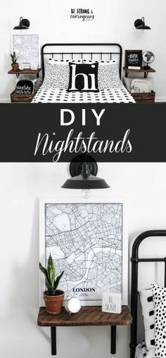 Learn how to make these simple DIY nightstands with a step by step tutorial. - Learn how to make these simple DIY nightstands with a step by step tutorial. These are perfect for - Cute Dorm Rooms, Cool Rooms, Farmhouse Furniture, Home Furniture, Bedroom Furniture, Furniture Online, Furniture Ideas, Simple Furniture, Country Furniture