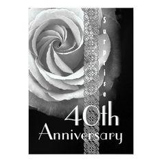 Shop SURPRISE Wedding Anniversary SILVER Rose Invitation created by JaclinArt. Wedding Anniversary Invitations, Affordable Wedding Invitations, Wedding Invitation Cards, Zazzle Invitations, Birthday Invitations, Wedding Cards, Anniversary Surprise, 40th Anniversary, Surprise Wedding