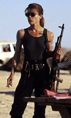 """Sarah Connor, actress Linda Hamilton. Before """"fit"""" was IN."""