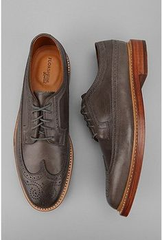 Classic wing tip in handsome gray by Florsheim