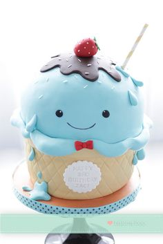 One cute Ice cream cake by Bake-a-boo Cakes NZ
