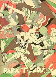 J. Carlos-1927. Couverture du magazine brésilien PARA TODOS Juin 1928 - José Carlos de Brito e Cunha, connu comme J Carlos (1884 - 1950) dessinateur, illustrateur et graphiste brésilien considéré comme l'un des plus grands représentants du style art déco en design graphique brésilien.