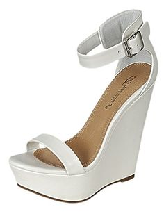 dd4f1120dfe6 Breckelle s Women s Vivi-41 Strappy Platform Wedge Sandals (7 B(M) US