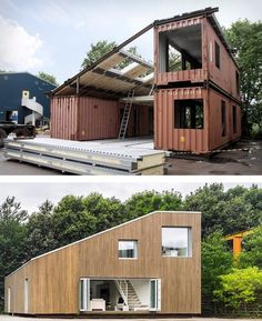 A 16 image slideshow of shipping container homes Sea Container Homes, Building A Container Home, Container Cabin, Storage Container Homes, Container Architecture, Container Buildings, Shipping Container Home Designs, Shipping Containers, Casas Containers