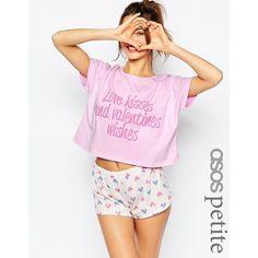 ASOS Valentine's 'Love & Wishes' Tee & Short Pyjama Set (40 BRL) ❤ liked on Polyvore featuring intimates, sleepwear, pajamas, multi, petite, short sleepwear, petite pajama sets, petite sleepwear, asos and short pyjamas