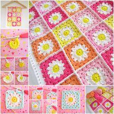 Crochet Daisy Blanket- free how to!
