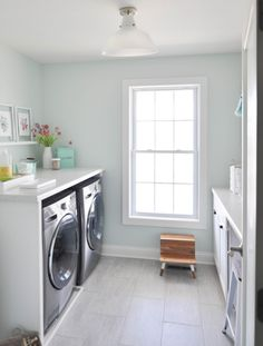 Functional and beautiful mint, marble and white laundry room, Fleeting green sherwin Williams