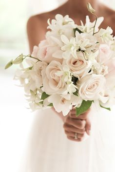 White bouquet with a hint of blush pink