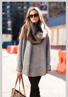 faux fur scarf + cozy, oversized sweater